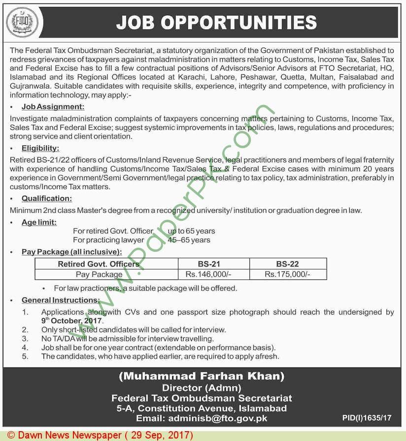 Federal Tax Ombudsman Secretaruiat Islamabad Jobs Jobs In - ombudsman resume