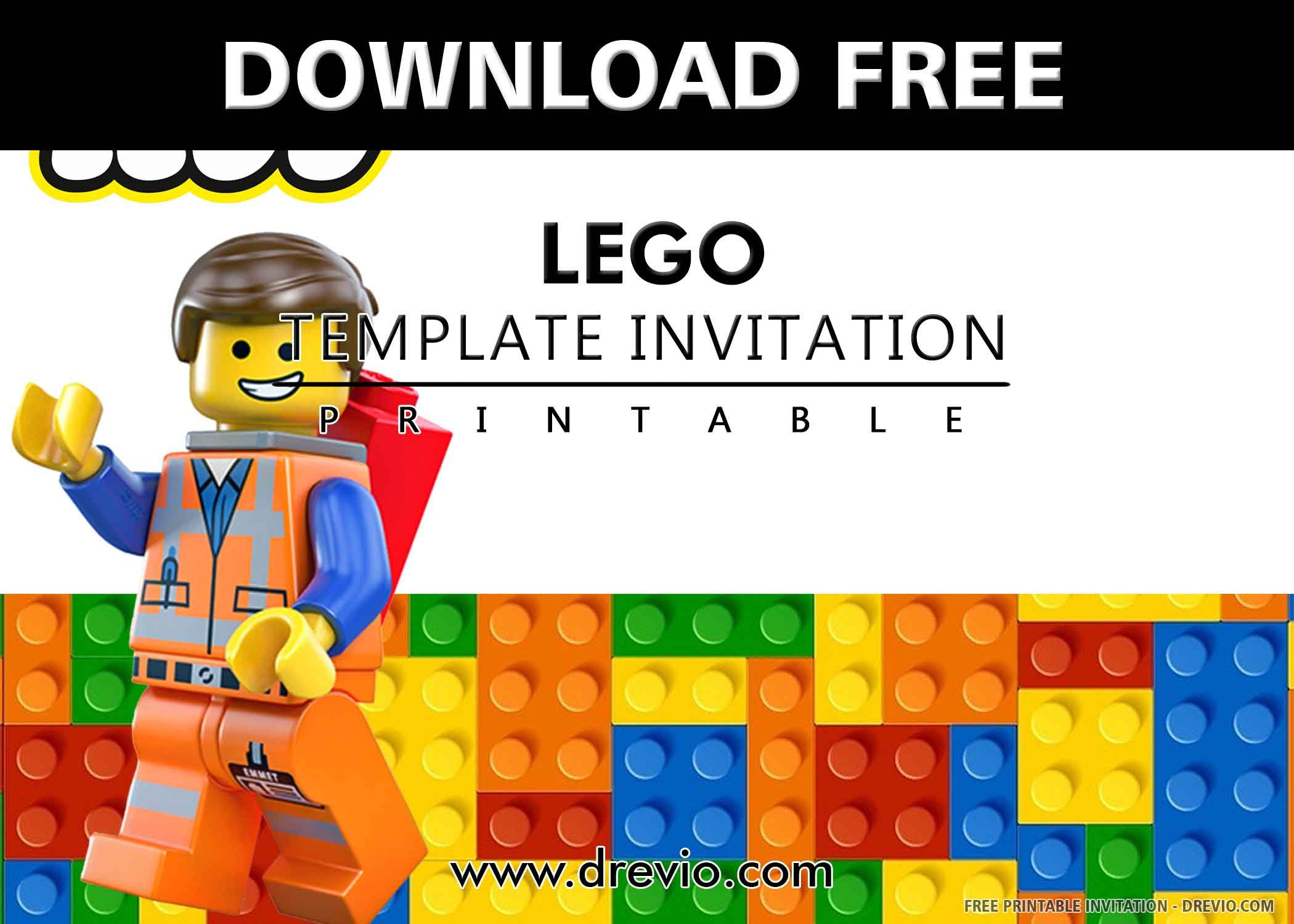 Free Printable Lego Birthday Invitation Templates