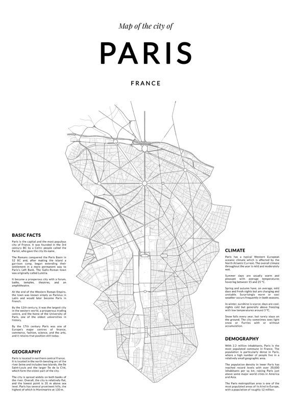 Print 262 : Paris map, Paris wall art, Wall Art, Paris print, Paris ...