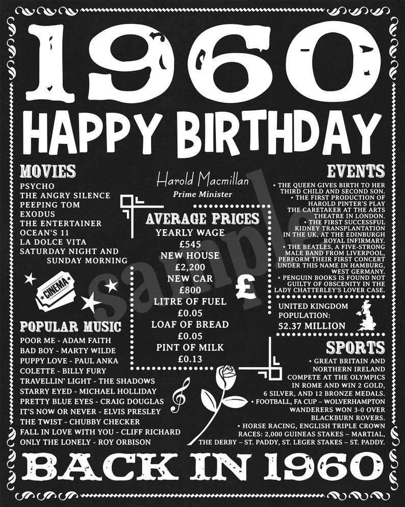 1960 Birthday Poster Uk Version 61st Birthday Banner Birthday Decorations 61 Years Ago Poster 61st Birthday Print 61st Bday Digital File 60th Birthday Banner 60th Birthday Ideas For Mom Birthday Poster