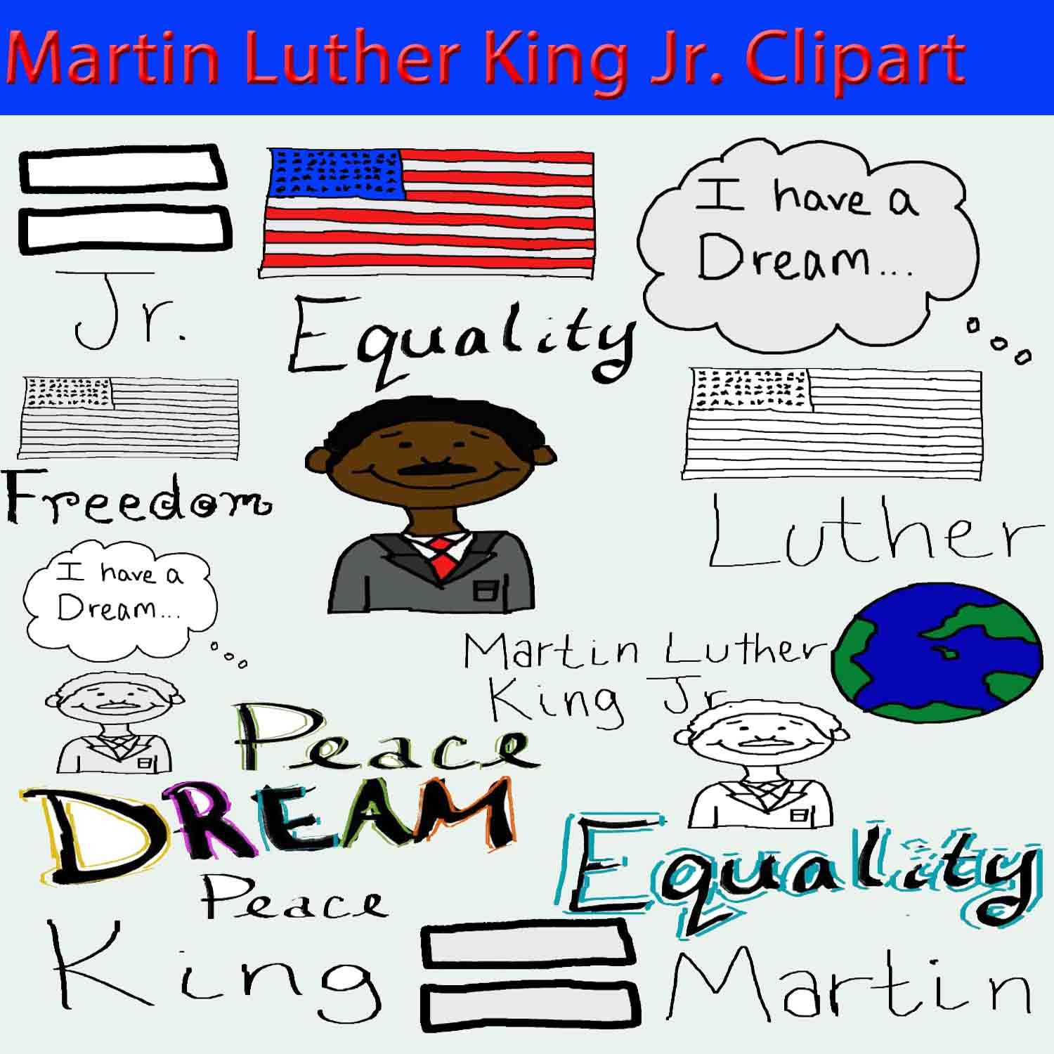 Martin Luther King Jr Clipart Tpt Mlk Winter January