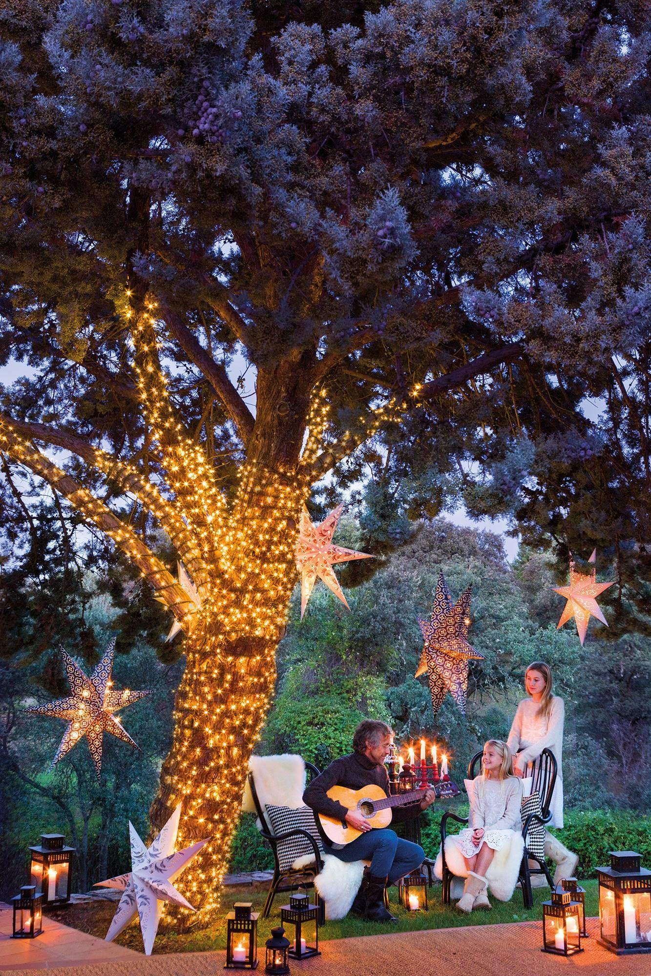 5 Decoración Navideña En Tono Rústico Decoraciones De Jardín Decoración Exterior Navidad Decoracion De Arboles
