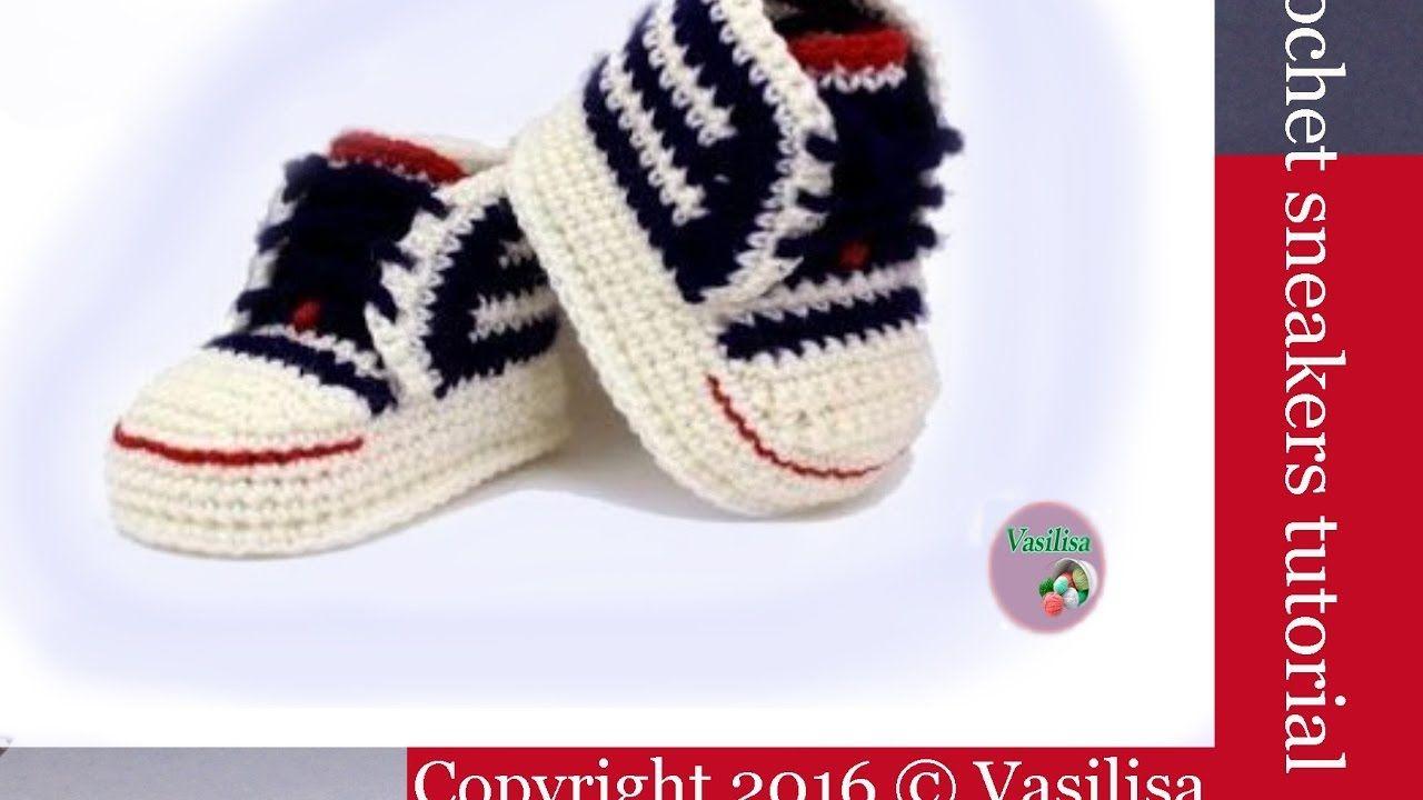 DIY crochet sneakers tutorial //Vasilisa   Zapatitos   Pinterest ...