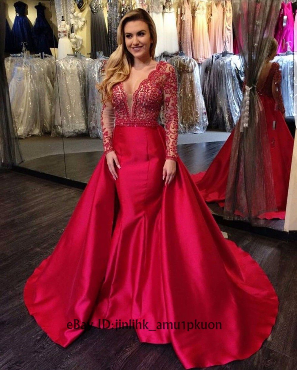 Cool 2017 Red Party Evening Mermaid Dresses Long Sleeve Lace ...