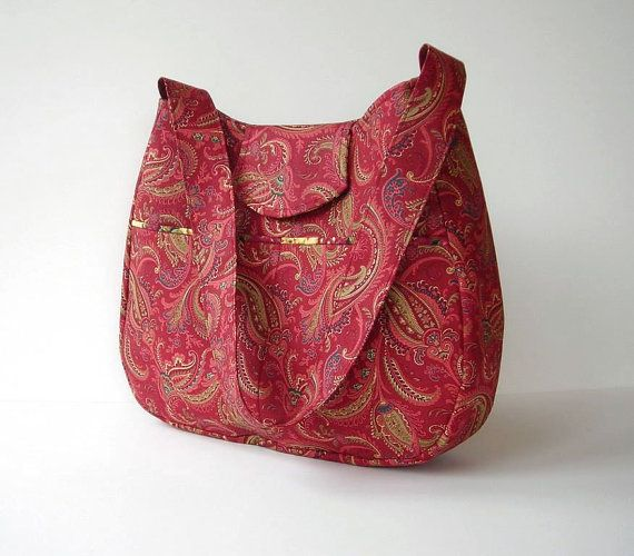 Shoulder Bag Purse Hobo in Cranberry Deep Rose Paisley with Outside Pockets