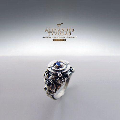 Naturalis sapphirus - gothic skull silver ring, natural sapphires, ring biomechanics, sapphires ring, blue sapphires