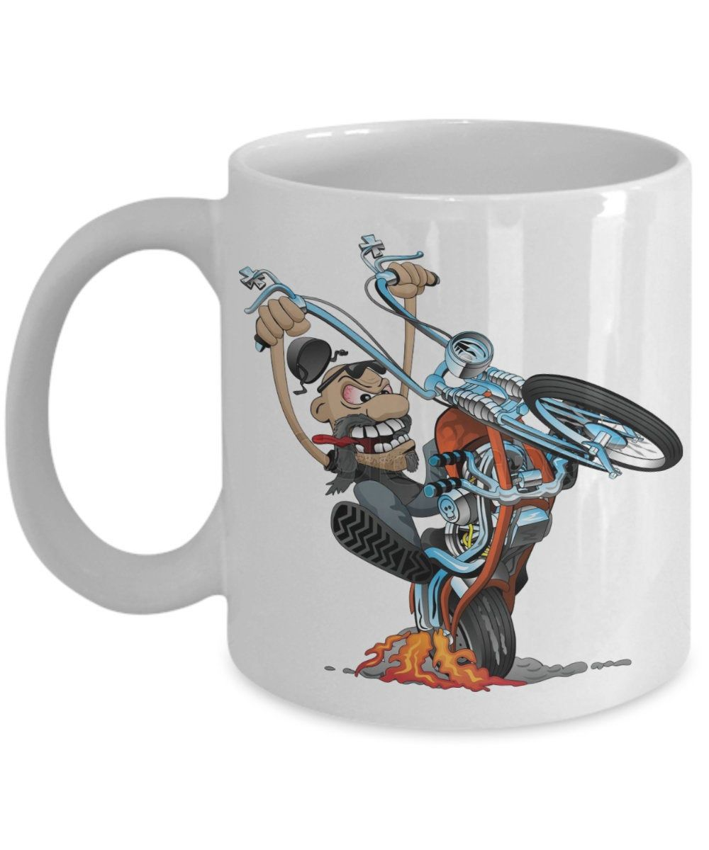 Motorbiker in Action Coffee or Tea Mug - Exclusive and a Great Coffee Mug,not found on the high street or sold by anyone else.Gift for life. #greatcoffee