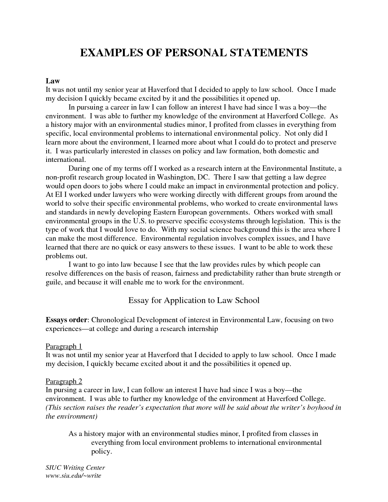 Grad school essays samples. Offers tips on writing a statement of ...