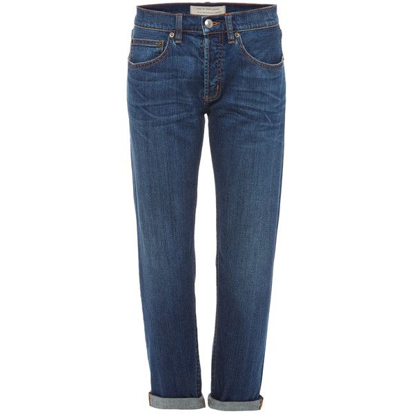 Marc By Marc Jacobs Slim Boyfriend Jean (190 CAD) ❤ liked on Polyvore featuring jeans, slim blue jeans, slim cut jeans, marc by marc jacobs jeans, slim fit boyfriend jeans and cropped jeans
