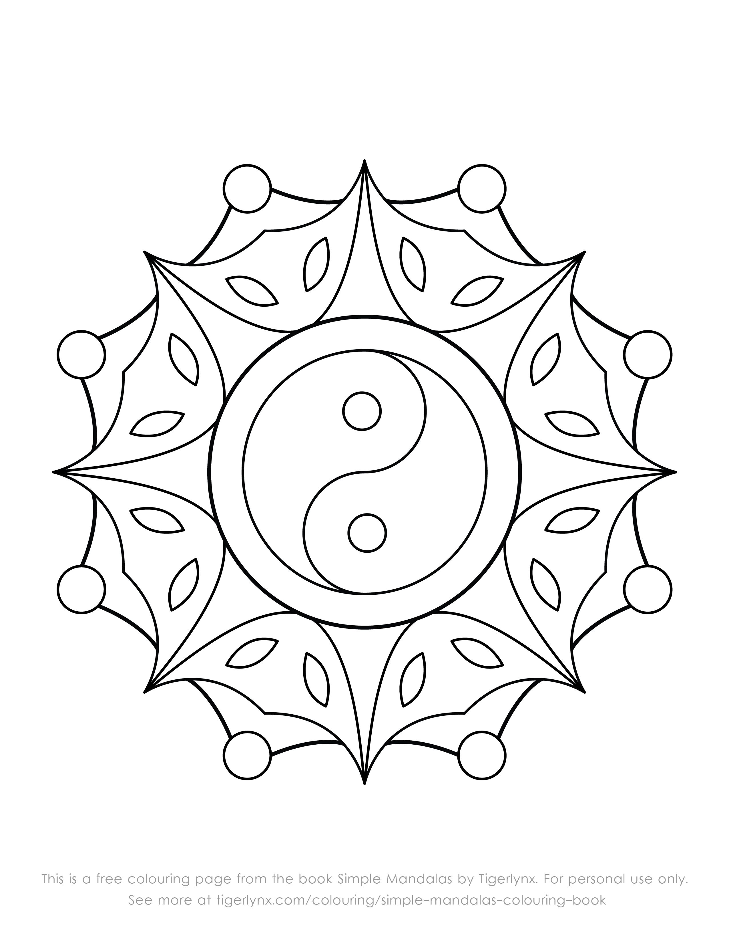 This Is A Free Colouring Page With An Easy Yin Yang Mandala Design