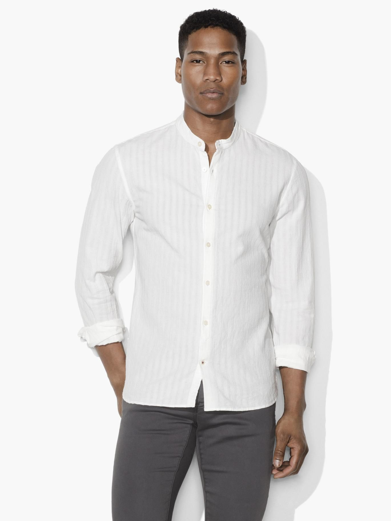 Textured Band Collar Shirt John Varvatos Products I Love