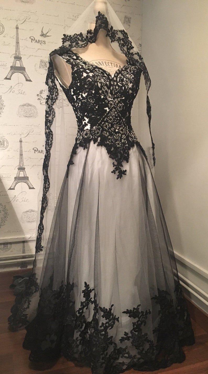 Colored wedding dresses custom made in 2020 Black
