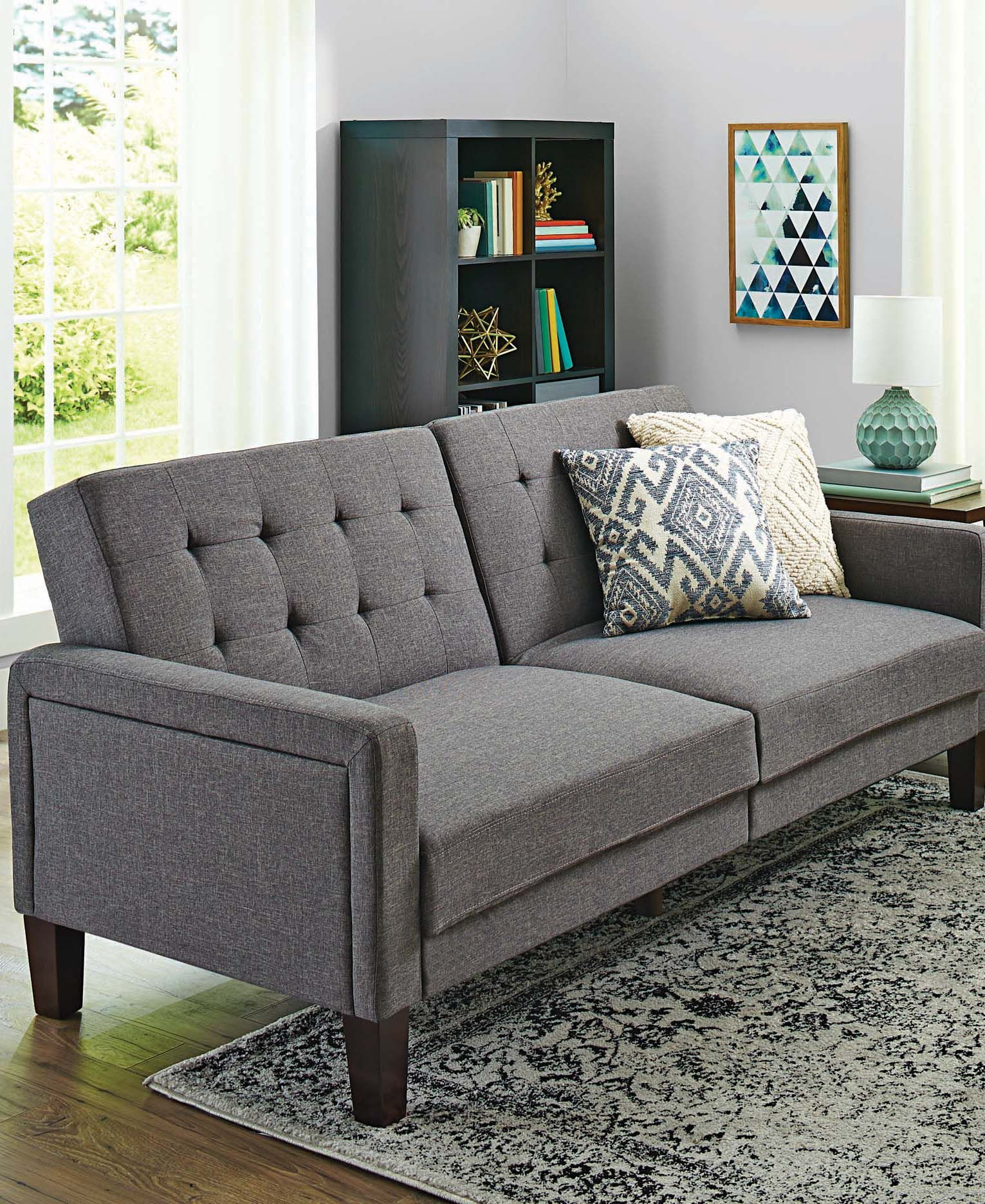Better Homes And Gardens Futon : better, homes, gardens, futon, Better, Homes, Gardens, Porter, Fabric, Tufted, Linen, Walmart.com, Futon, Living, Room,, Comfortable, Family, Decorating