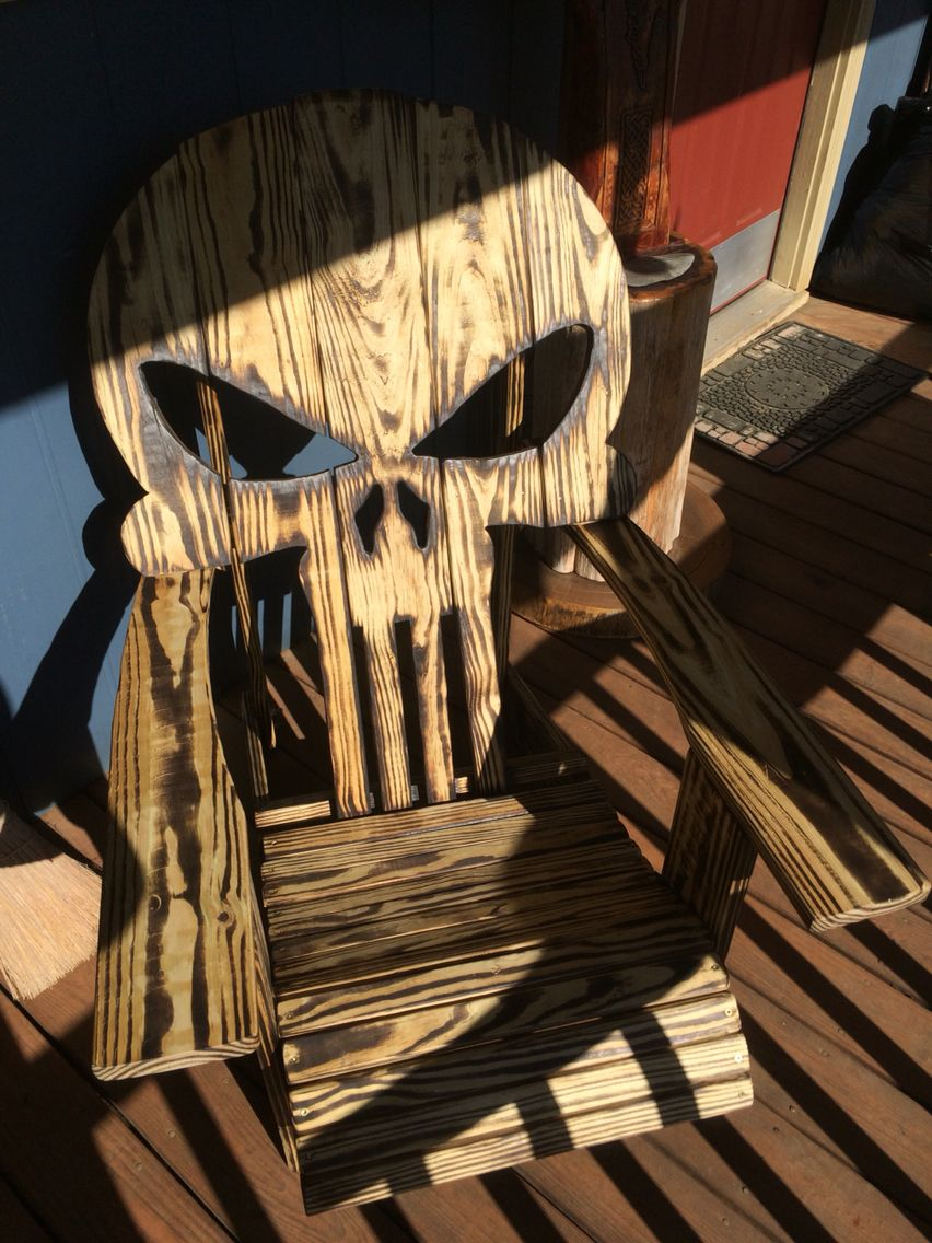 Punisher chair by me. | Crafty,crafty! | Pinterest | Punisher, Woods and Wood projects