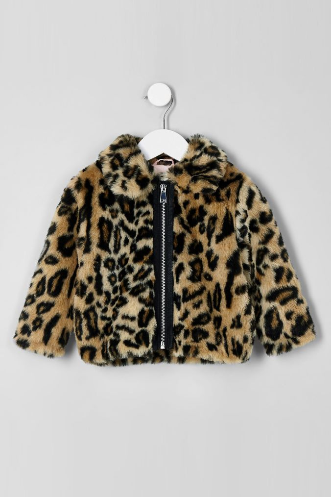 Girls River Island Animal Print Faux Fur Jacket Brown Girls