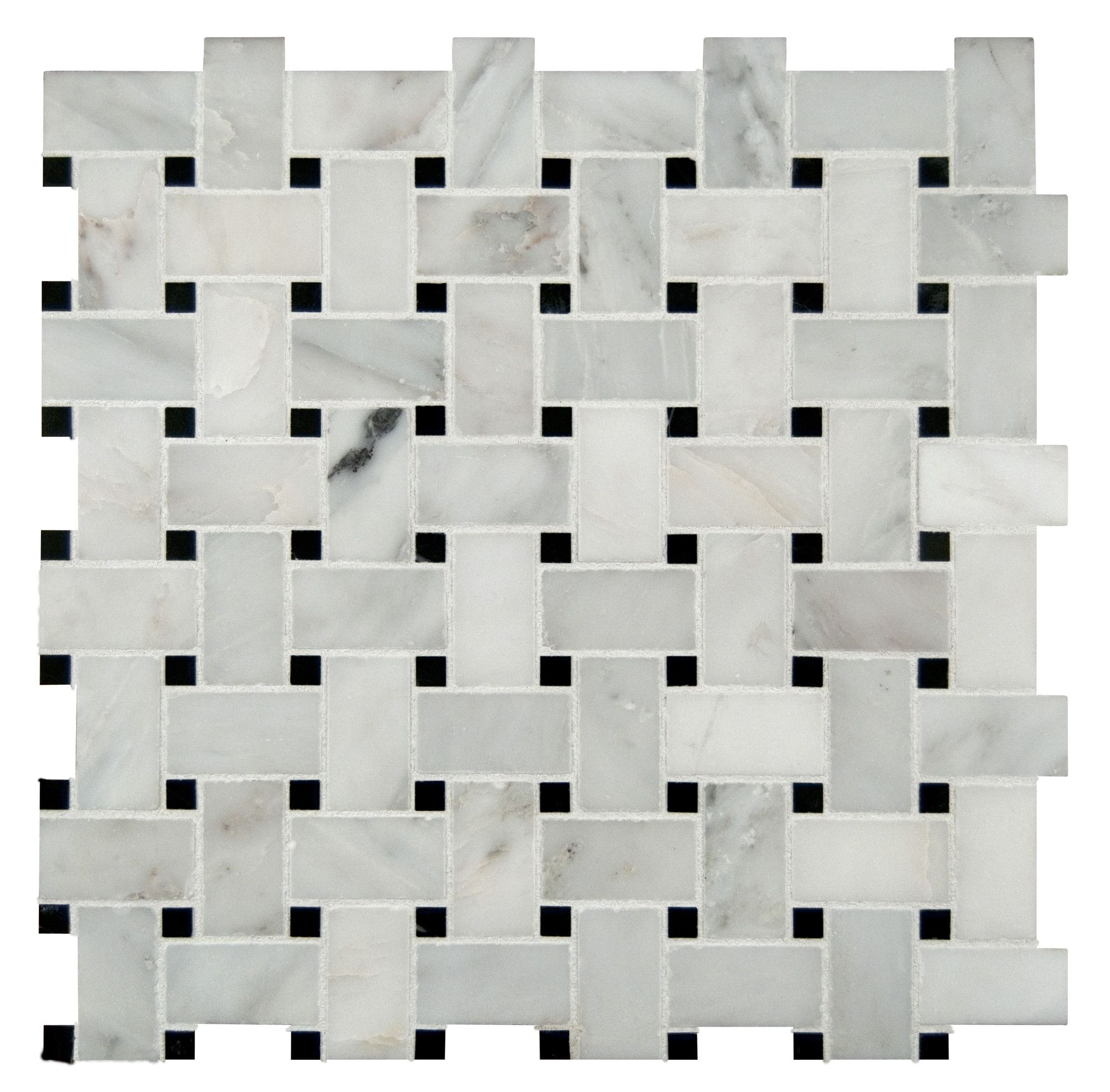 Basket Weave Random Sized Mesh Mounted Natural Stone Mosaic Tile in