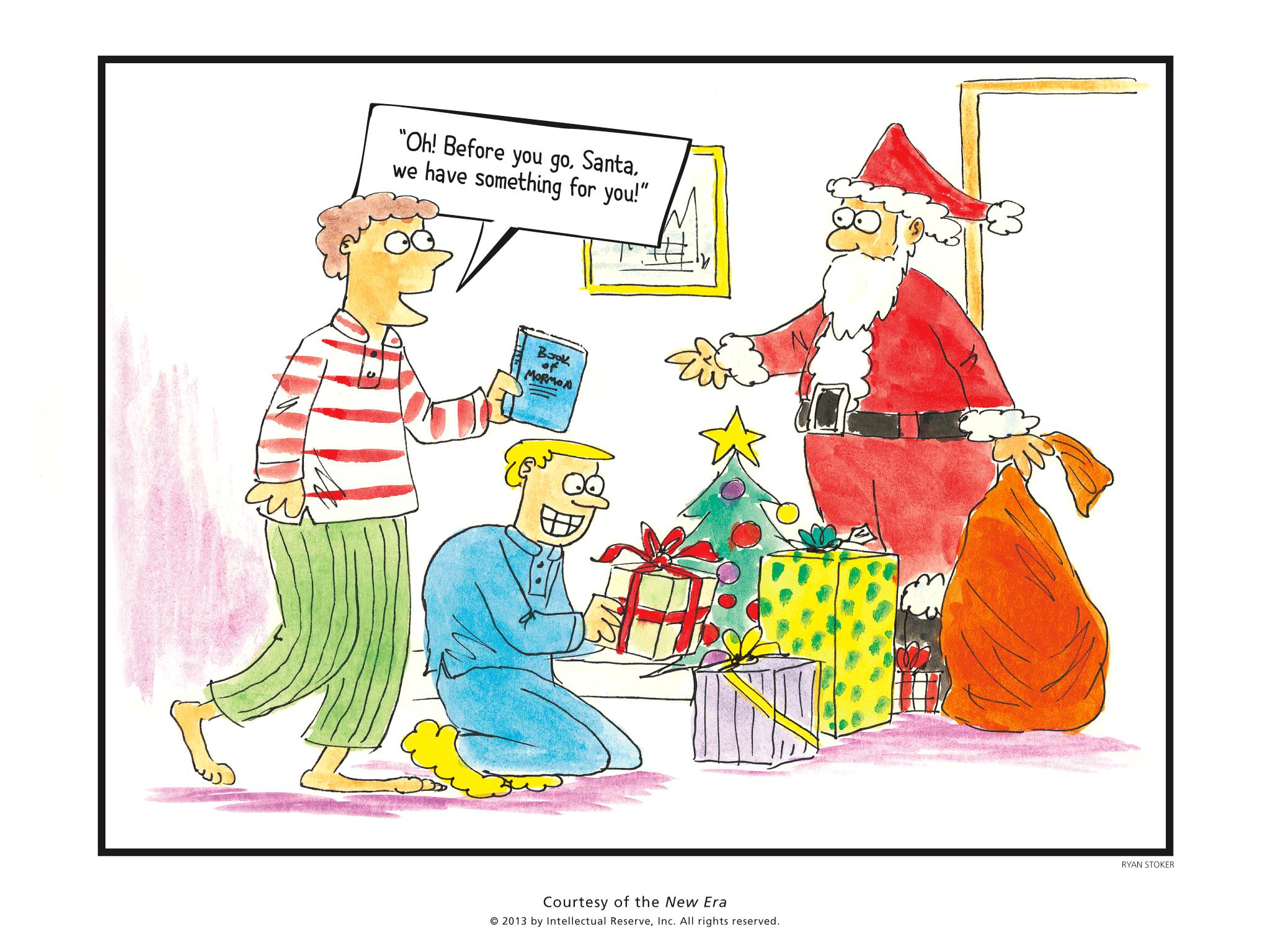 extra smile cartoon: santa gets a book of mormon for christmas