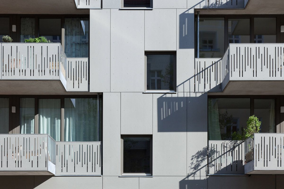 Apartment house berlin balcony and facede detail with perforated equitone