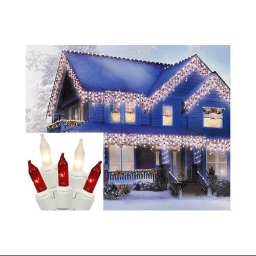 Candy Cane Red Clear Frosted Mini Icicle Christmas Lights White 100 Count Led Icicle Christmas Lights Icicle Christmas Lights Christmas Lights