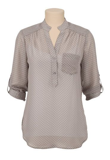 3/4 Sleeve Chiffon dot print blouse (original price, $29) available at #Maurices www.heathergero.origamiowl.com
