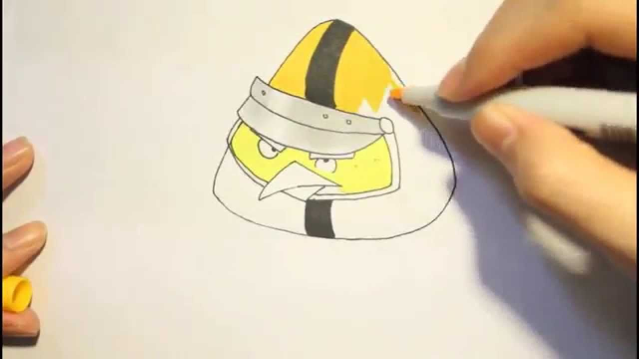 How To Draw Chuck Yellow Bird From Angry Birds Go! Please