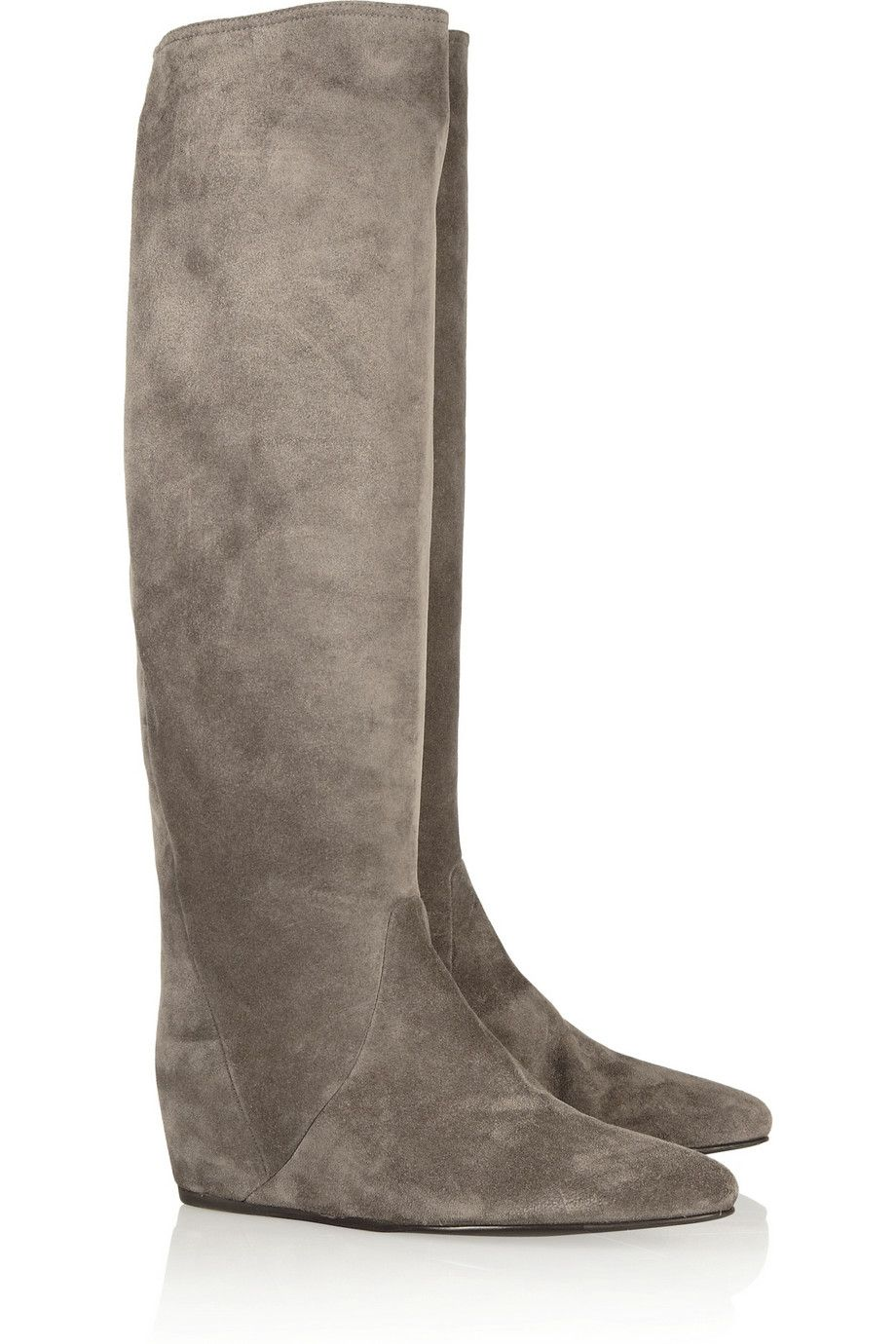 Lanvin   Suede concealed wedge knee boots   NET-A-PORTER.