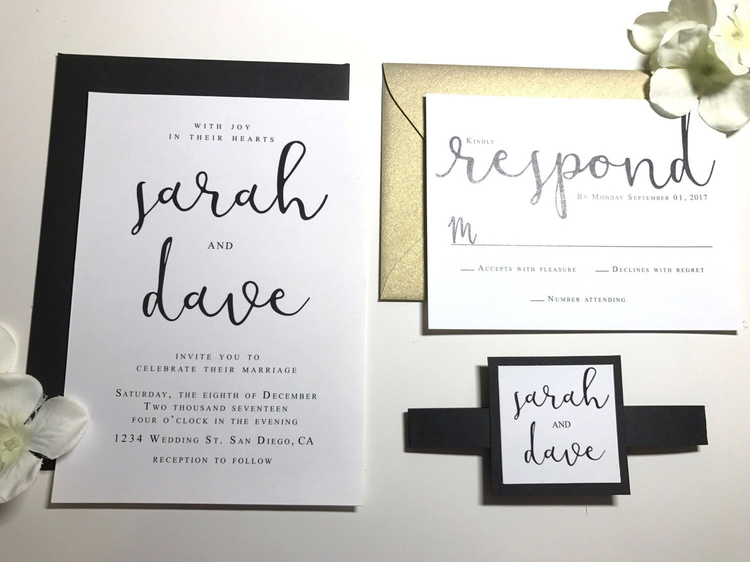 white and gold wedding invitations%0A Gold and Black Modern Calligraphy Wedding invitations Black  Classic Flowy  Script Font  Beautiful Elegant