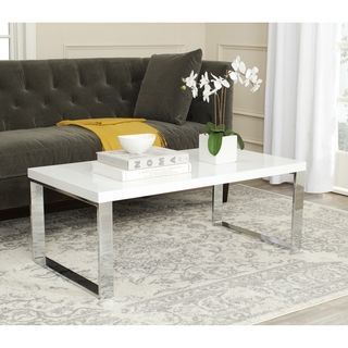 Overstock White Coffee Table.Luca Home Chrome White Lacquer Coffee Table Overstock Com Shopping