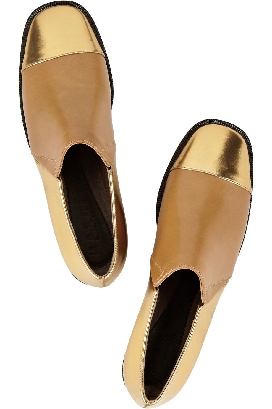 Metallic Moment: high-shine finishes lend lustre to fall. Marni|Metallic leather loafers