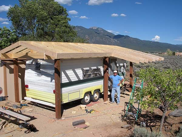 Rv cover shelter pinterest rv rv shelter and rv campers for Rv with roof deck