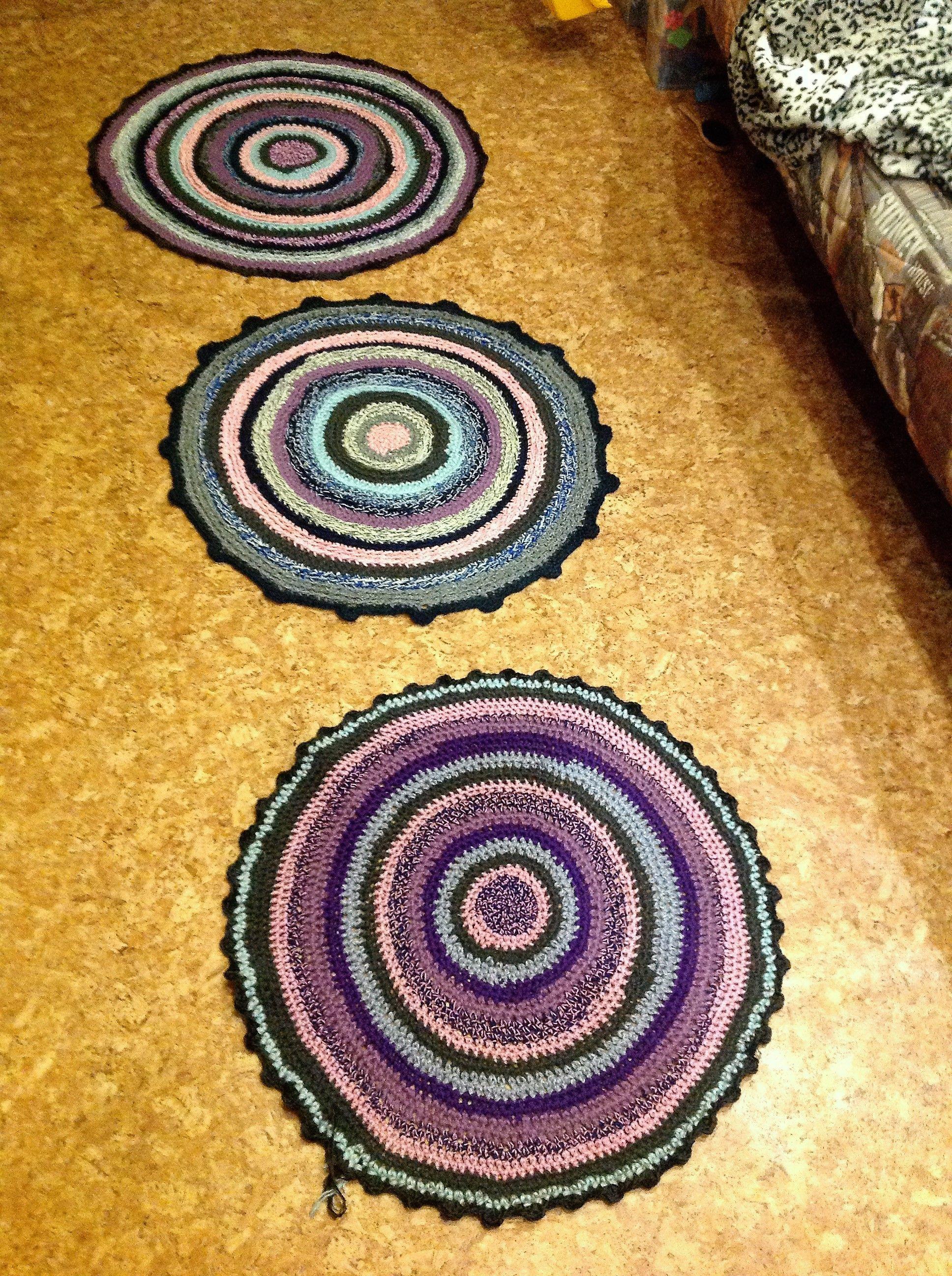утилизация остатков пряжи продолжается коврики вязание крючком