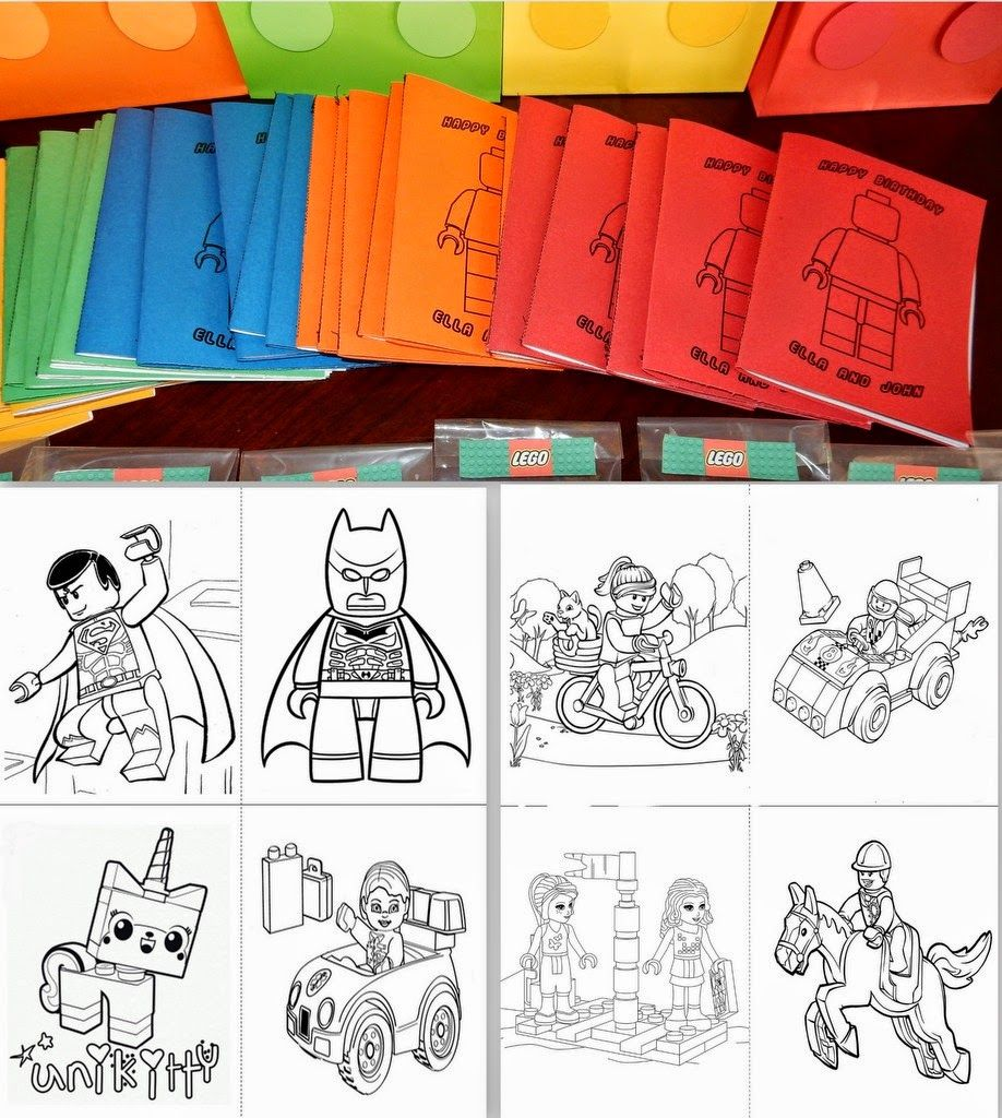 invite and delight lego birthday party  coloring book