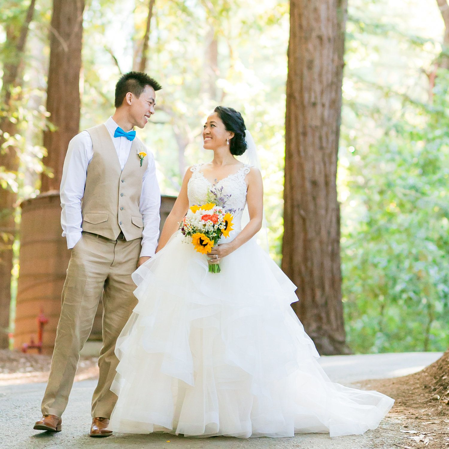 Design your own wedding dress cheap  A woodland wedding with colorful touches and a CasablancaCustomized