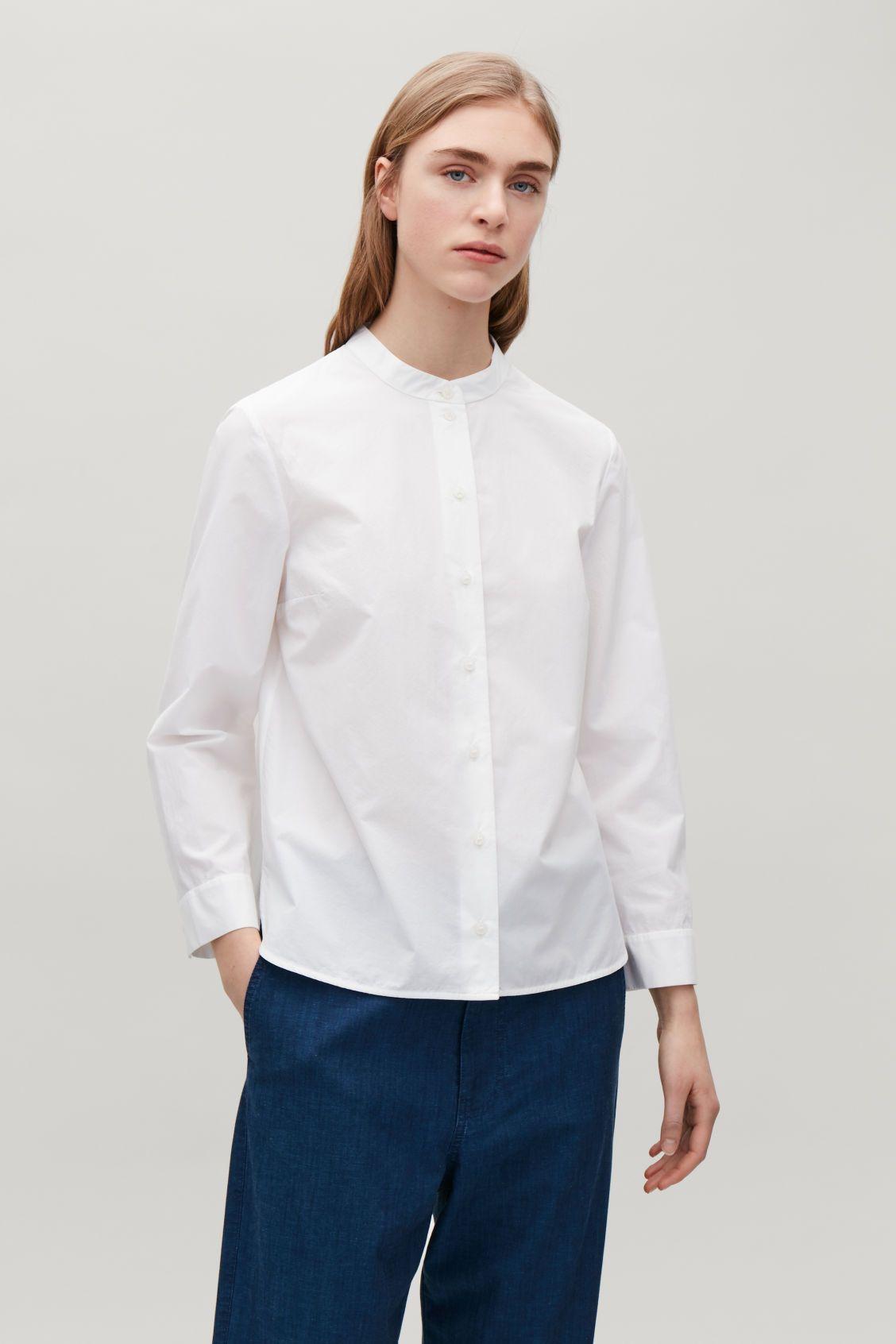 Poplin grandad shirt white collarless shirts cos