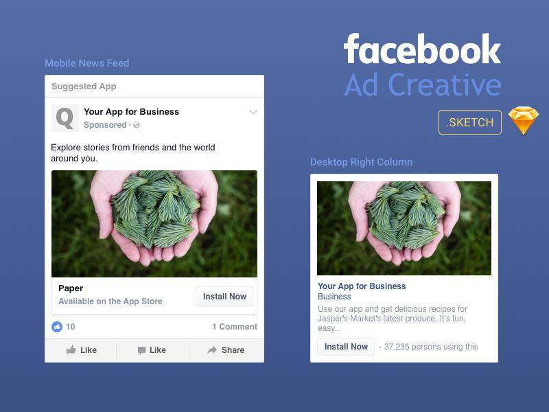 Facebook Ad Creative Template In Sketch Format Ad Creative Facebook Ad Template Facebook Ad Mockup