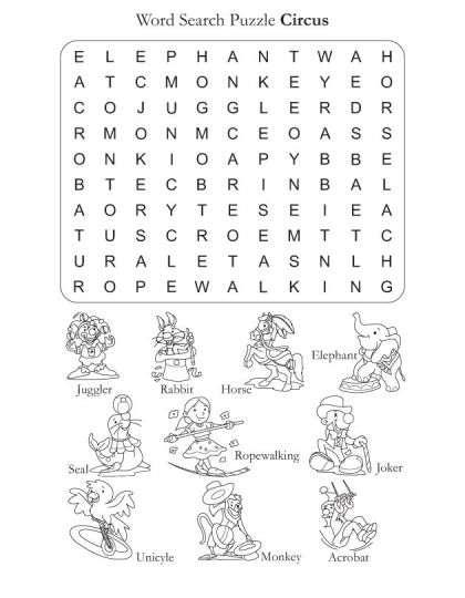 Halloween Coloring Pages And Word Searches : Word search puzzle circus download free