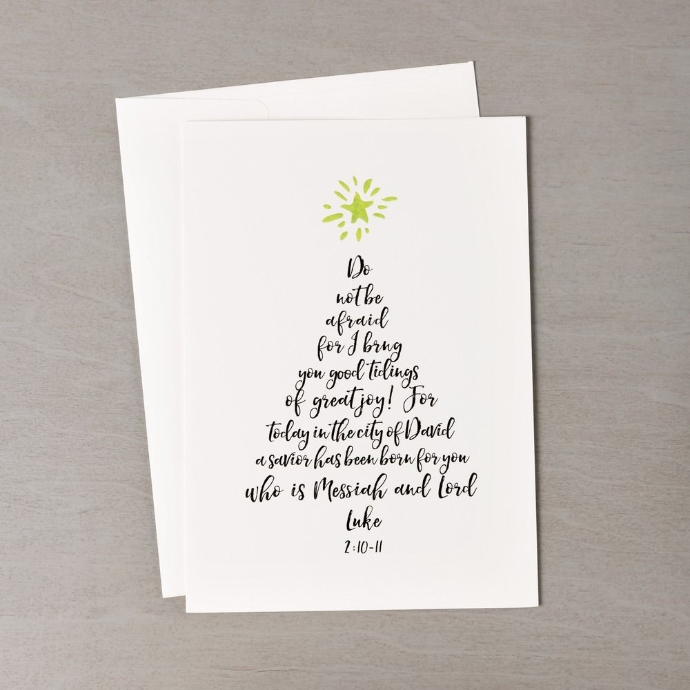 Christmas tree calligraphy greeting cards set of 20