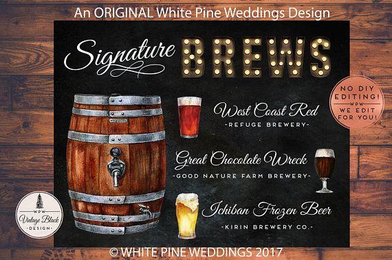 Printable Wedding Beer sign, Wedding Signature Brew sign, Beer Keg
