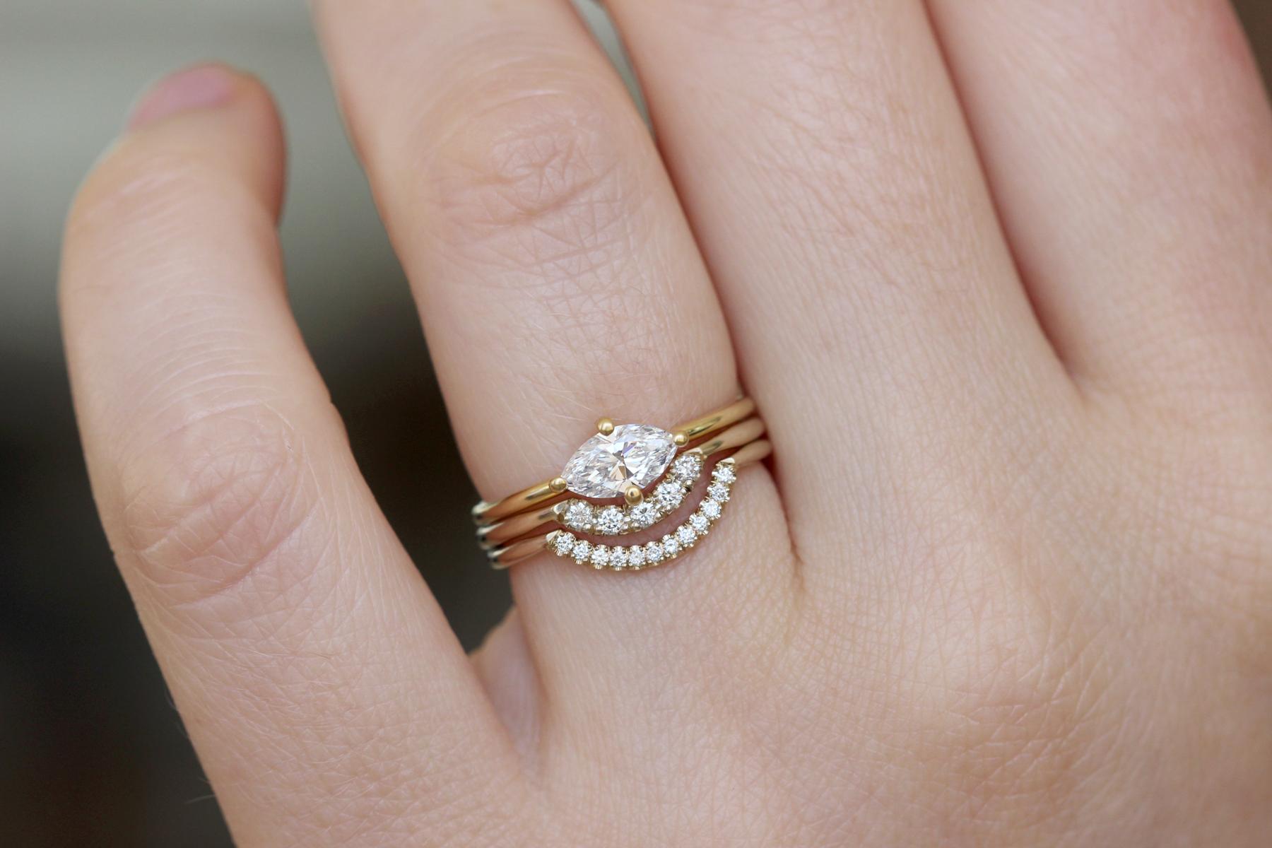 Marquise Wedding Ring Set Three Rings Wedding Set Three Rings Wedding Marquise Wedding Ring Engagement Rings Marquise