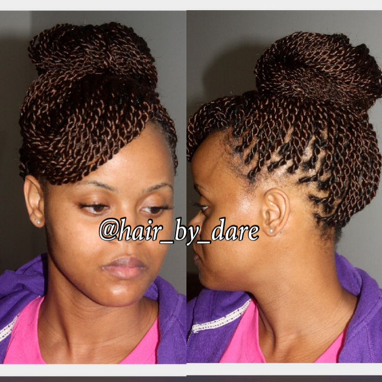 senegalese twists bun hair by dare pinterest