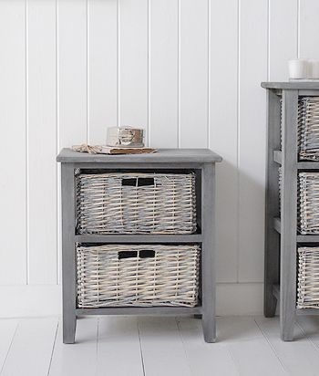 St Ives Grey Basket Storage furniture with two baskets for living room and bedroom Furniture - The White Lighthousee & 60 St Ives grey storage furniture with 2 baskets | * 64 Hallway ...