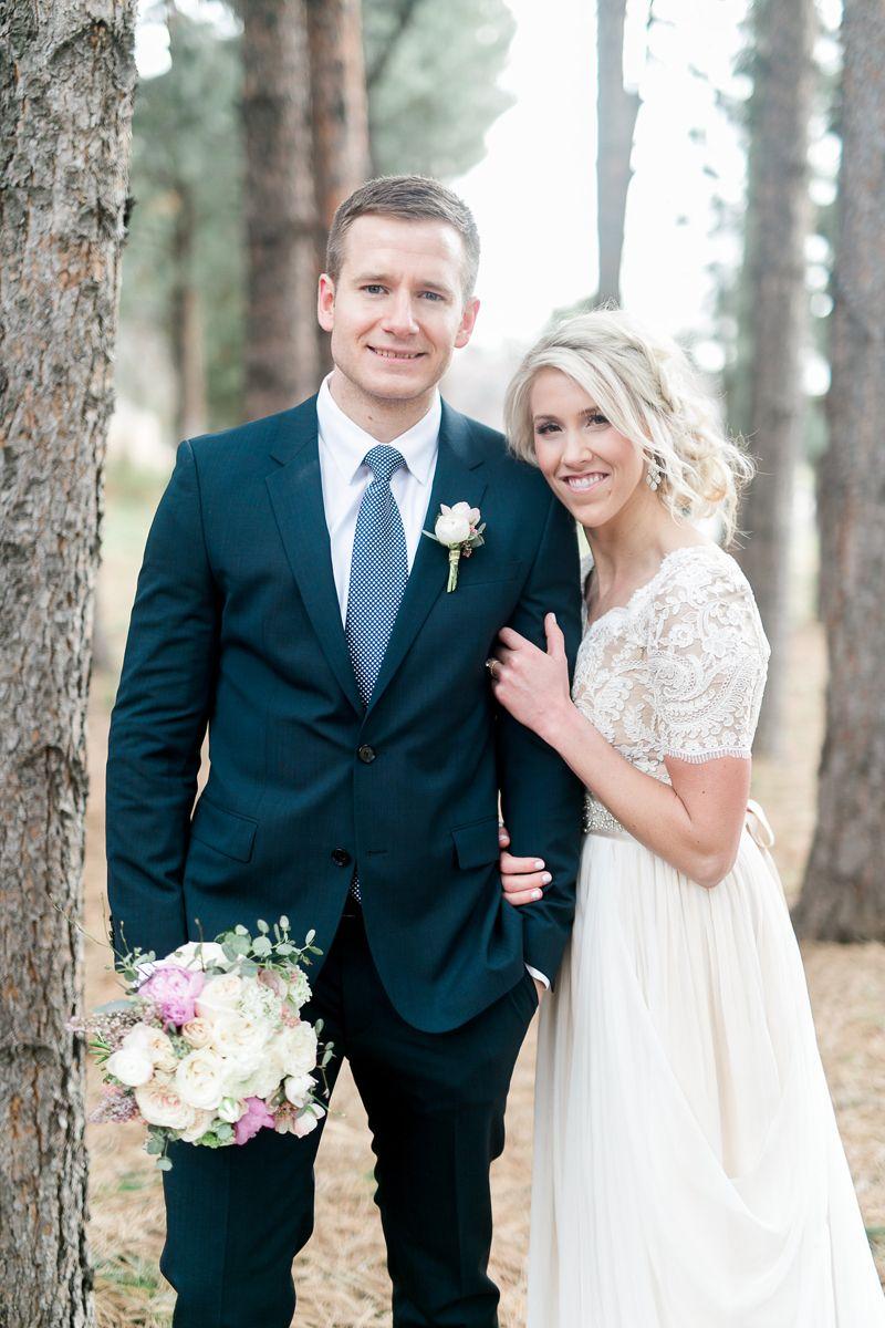 Modest wedding dress with half sleeves from alta moda modest