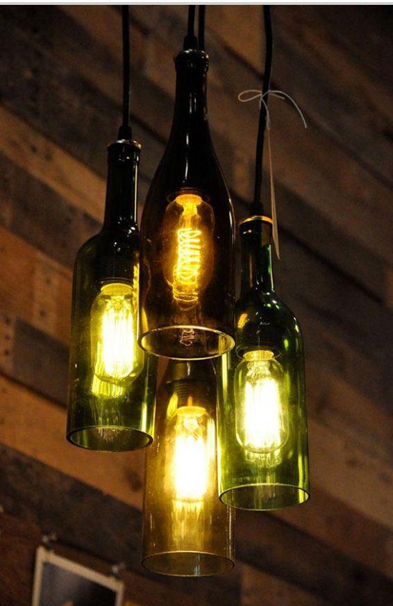 Use Old Bottles As Lamp Shades Botellas De Vino Recicladas