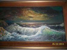 Vintage Oil painting Of a roaring Ocean waves
