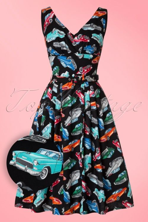 Victory Parade Topvintage Exclusive 50s Retro Cars Swing Dress In Black Swing Dress Dresses Retro Cars