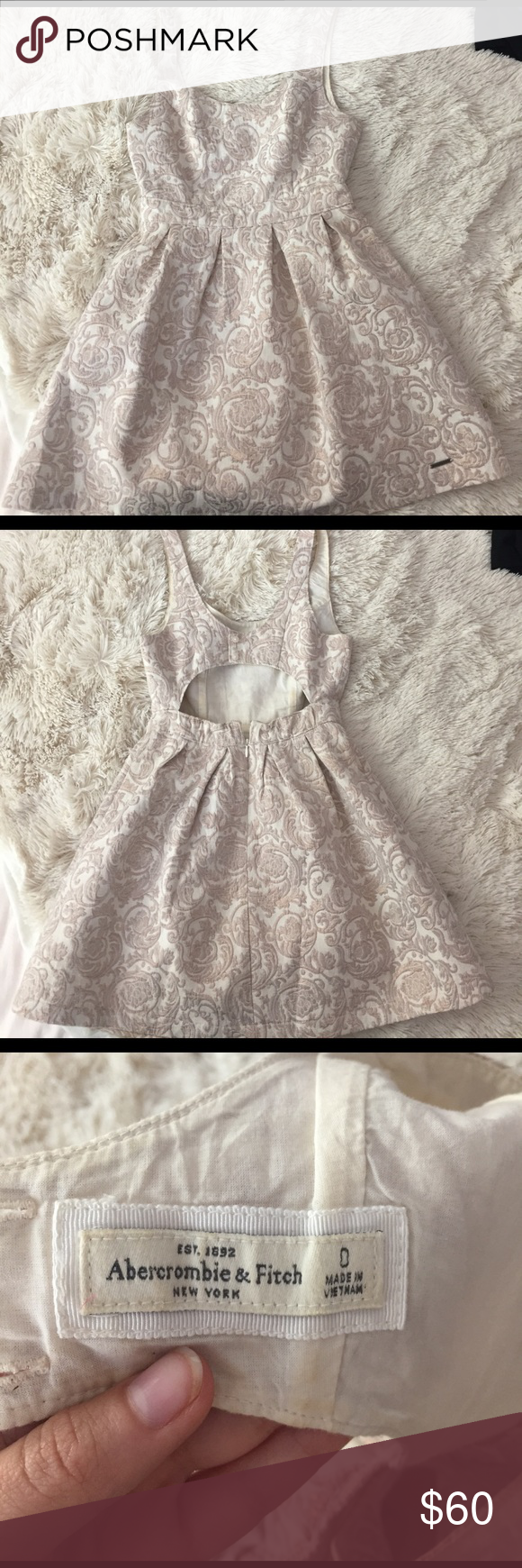 Abercrombie and Fitch gold and ivory detail dress Beautiful dress perfect for a formal dance, party or event. Tight at the waist. Ivory with golden detailing throughout. Good condition only worn a few times. Abercrombie & Fitch Dresses Mini