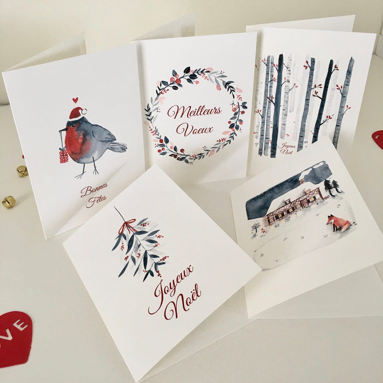 5 Cartes de voeux Noël rouge et bleu, carte double, papeterie, carte illustrée, carte sans message, aquarelle, nature, paysage, neige