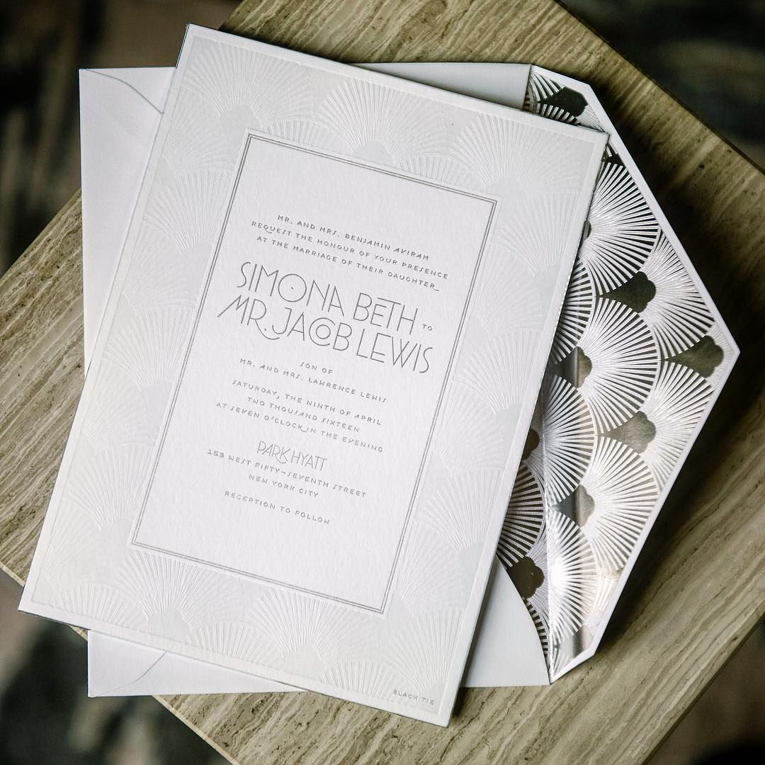 A Subtle Faux Blind Letterpress And Silver Foil Custom Invitation