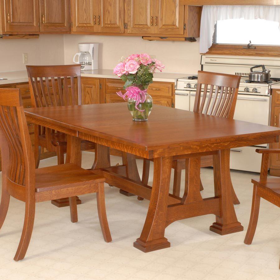 mission trestle dining table quartersawn oak - Google Search ...
