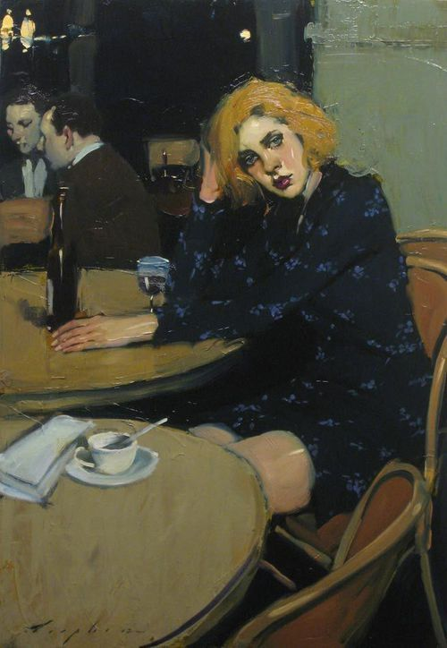 malcolm t liepke waiting for a friend oil on canvas 76 x 53 cm x 21 in